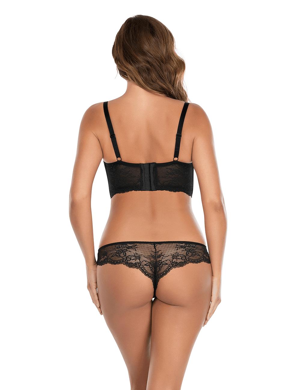 Sandrine PlungeLonglineBraP5351 BrazilianThongP5354 Black Back - Sandrine Longline Bra Black P5351