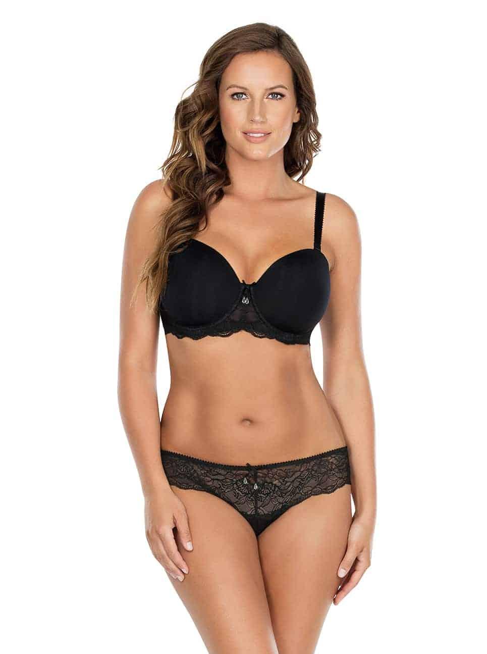 Elissa ContourUnderwireBraP5011 BikiniP5013 Black Front - Elissa Bikini - Black - P5013