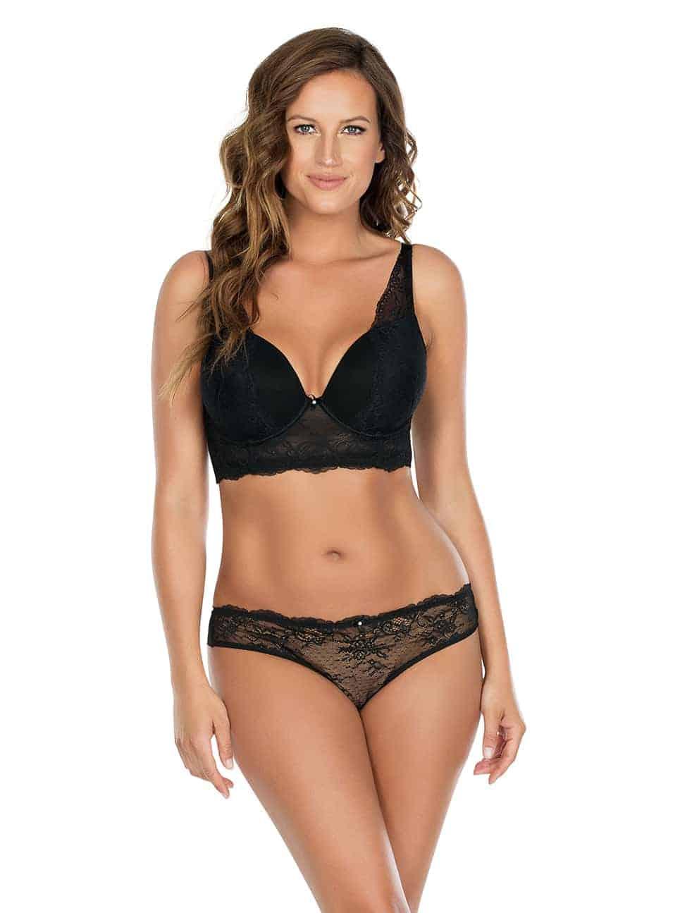 Sandrine PlungeLonglineBraP5351 BrazilianThongP5354 Black Front - Sandrine Longline Bra Black P5351