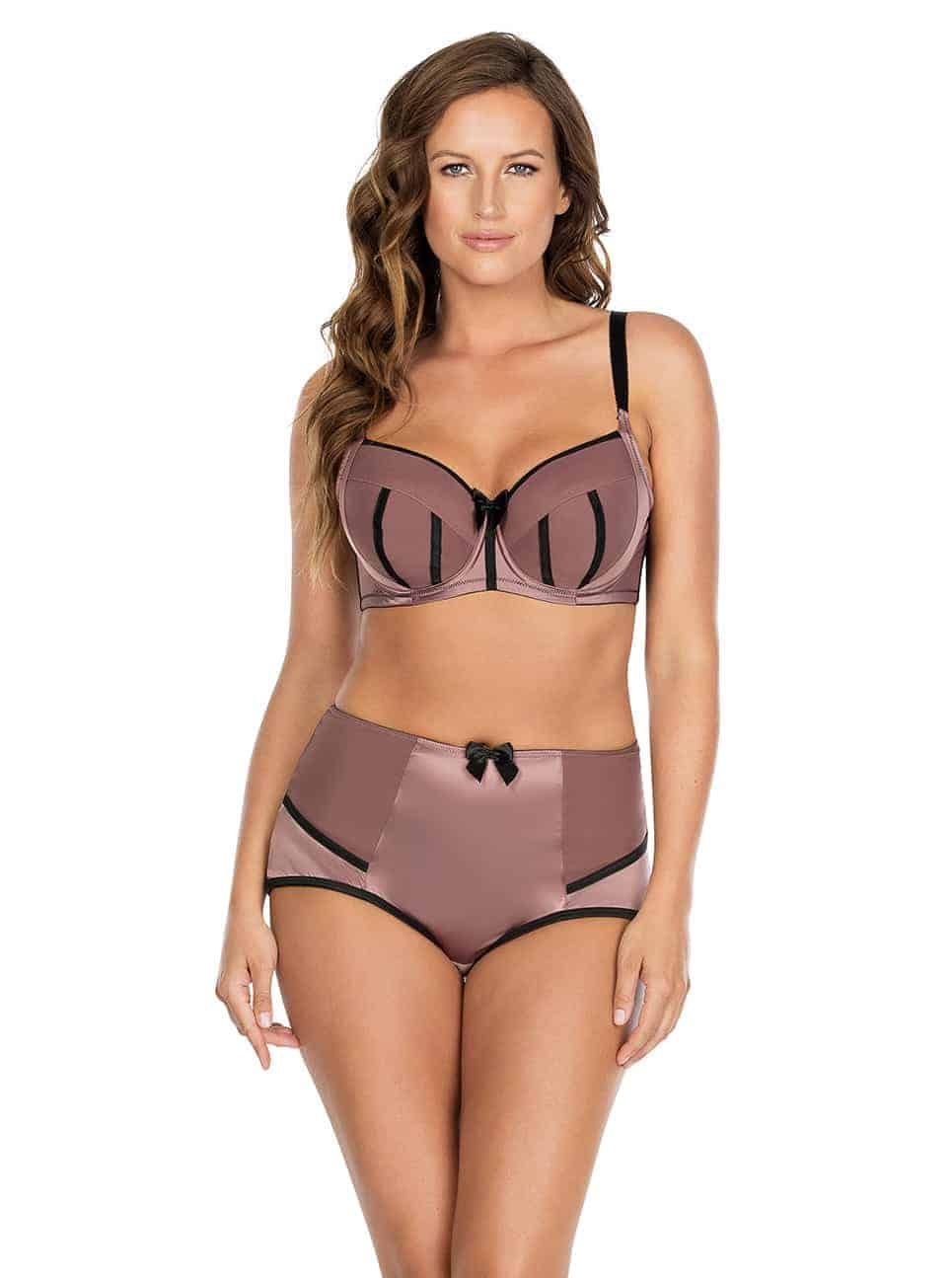 Charlotte PaddedBra6901 HighwaistBrief6917 Woodrose Front - Charlotte Highwaist Brief - Woodrose - 6917