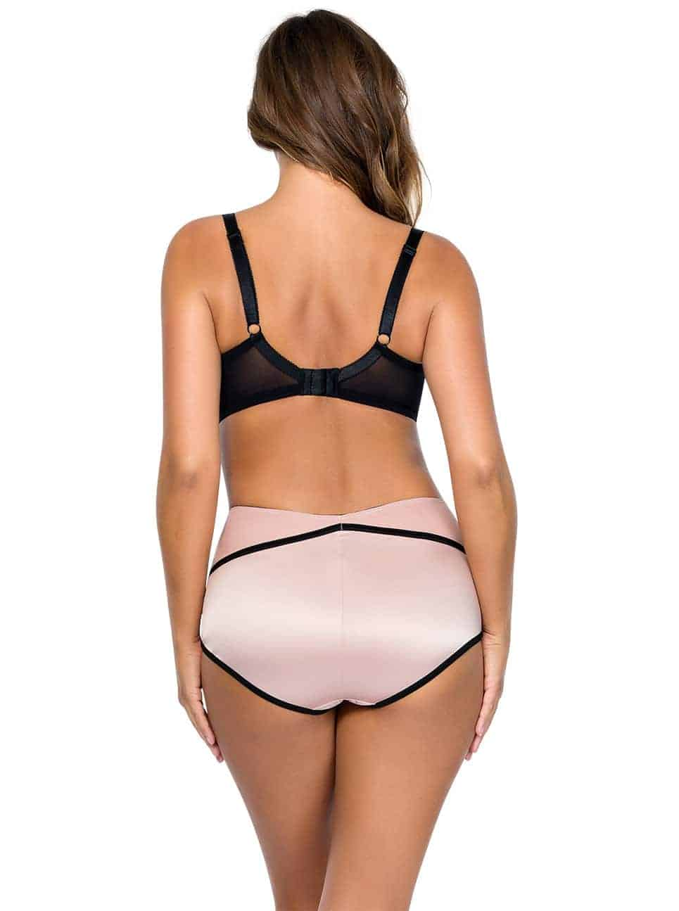 Charlotte PaddedBra6901 HighwaistBrief6917 DustyRoseBlack Back - Charlotte Highwaist Brief - Dusty Rose w Black - 6917