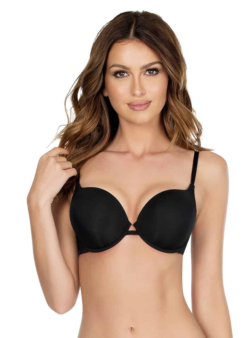 Lynn SuperPushUpBraP13021 Black Front copy - Lynn Super Push-up Bra - Black - P13021