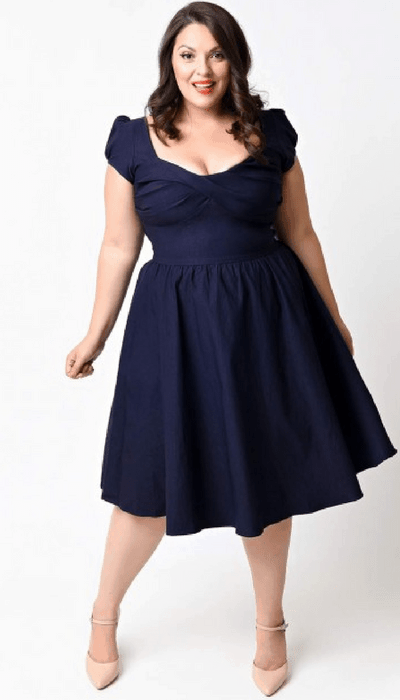 Stop Staring Exclusive Plus Size Navy Billion Dollar Baby Dress