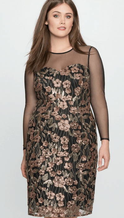 Eloquii Floral Sequin Dress with Mesh Detail