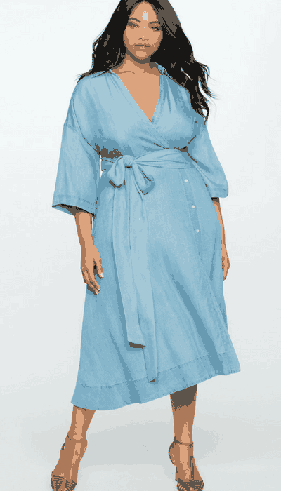 Eloquii Wide Tie Chambray Wrap Dress