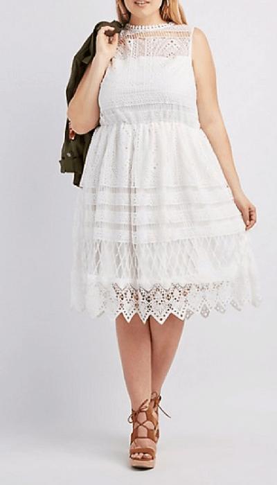 Charlotte Russe Plus Size Crochet Overlay Skater Dress ...