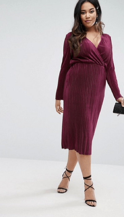 ASOS CURVE Plisse Wrap Front Midi Dress