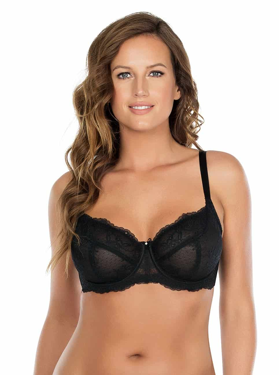 Sandrine UnlinedWireBrap5352 Black Front copy - Sandrine Unlined Wire Bra - Black - P5352