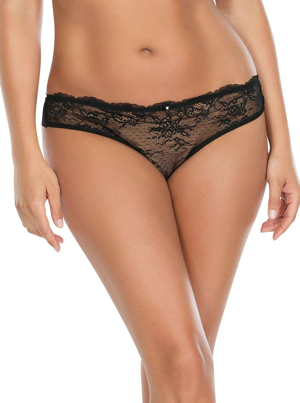 Sandrine BrazilianThongP5354 Black Front - Sandrine Brazilian Thong - Black - P5354