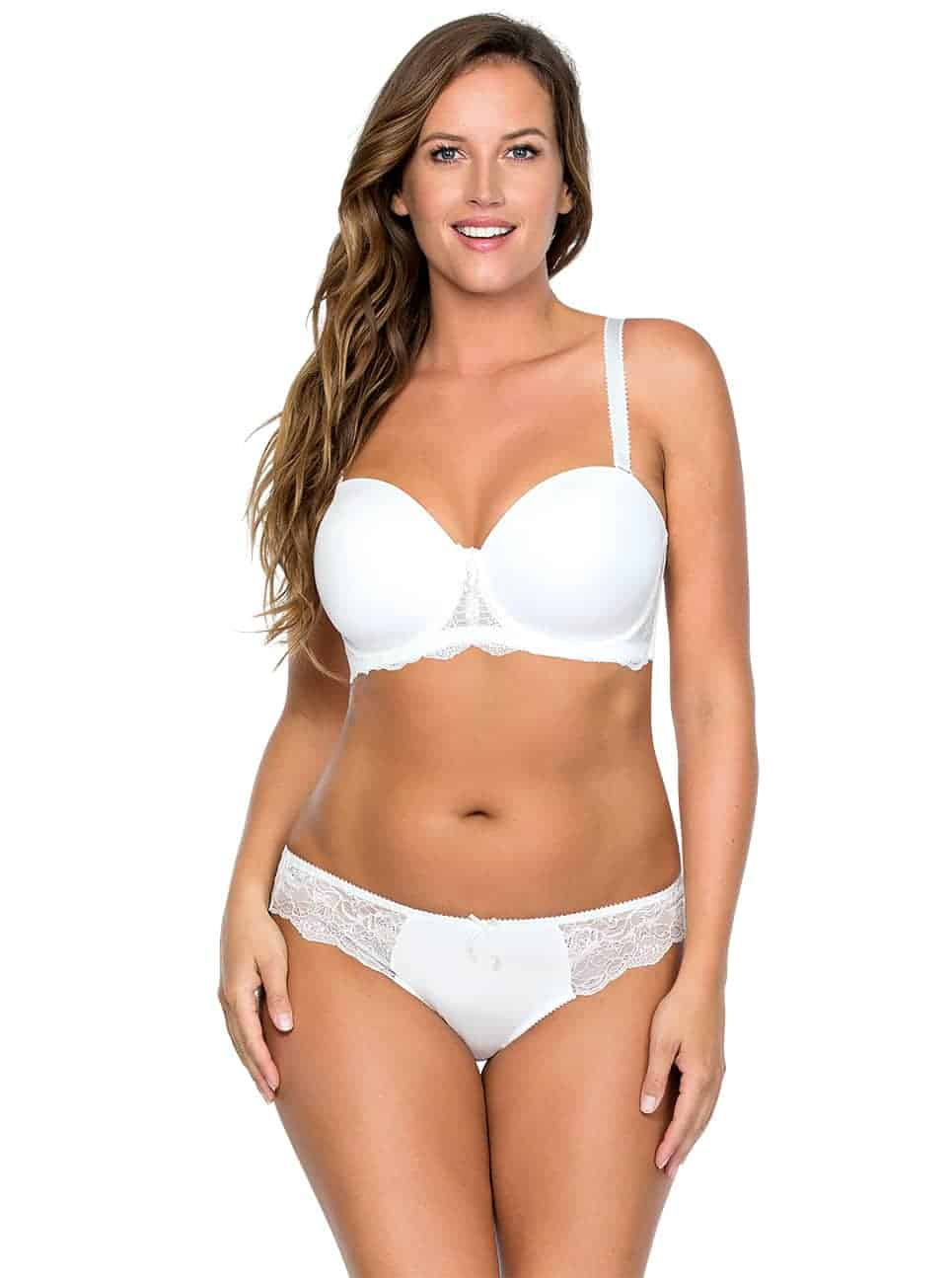 Elissa StraplessBraP5011 BrazilianThongP5014 PearlWhite Front copy - Elissa Strapless Bra - Pearl White - P5011
