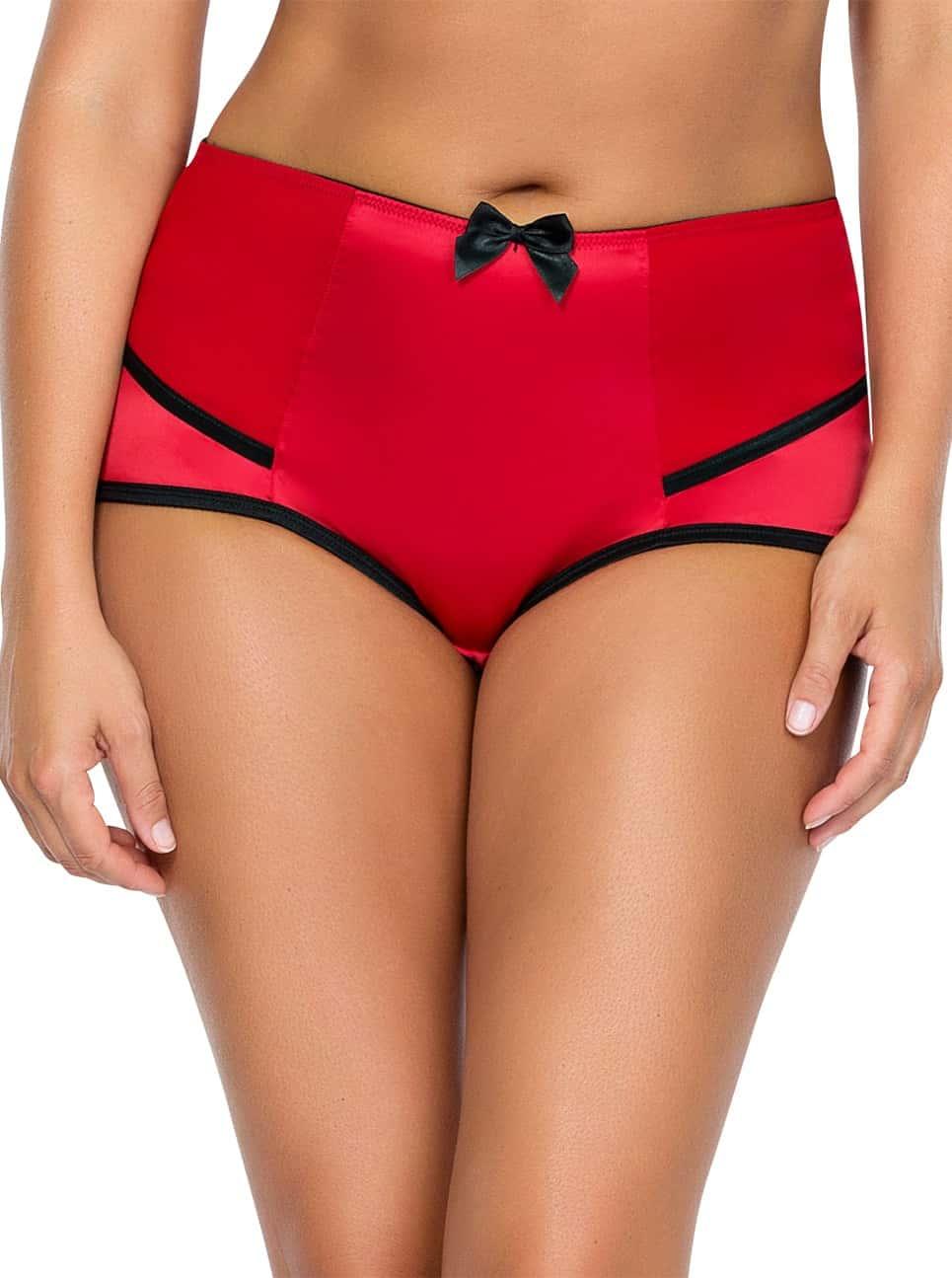 Charlotte HighwaistBrief6917 RedBlack Front - Charlotte Highwaist Brief - Red&Black - 6917