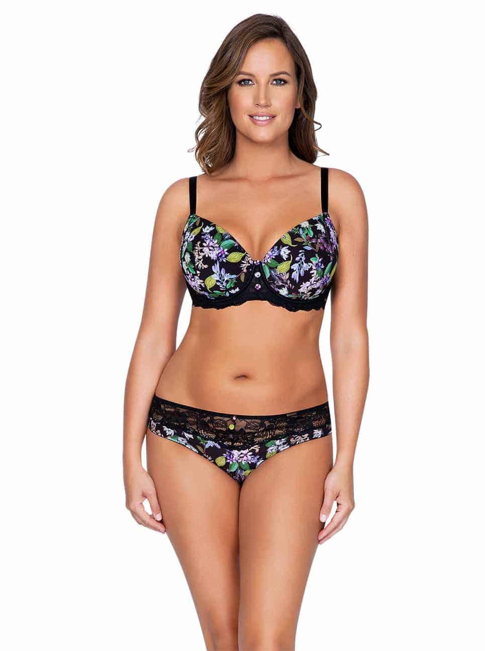 Ava P5371 PaddedBra P5373 BikiniFront - Ava Padded Bra - Black Floral - P5371