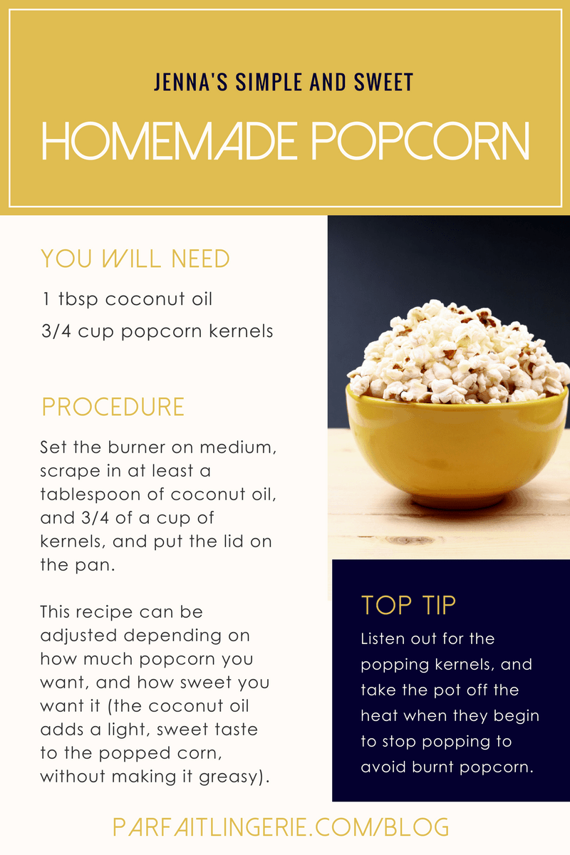 jennas simple and sweet homemade popcorn with coconut oil - 7 Healthy Treats for Satisfying Sugar Cravings + An Easy Homemade Popcorn Recipe