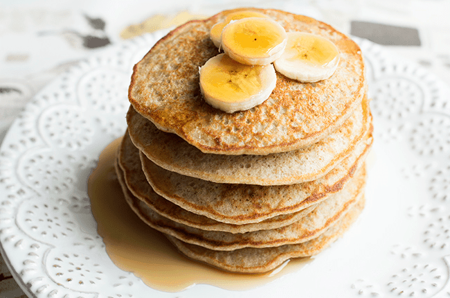 banana quinoa pancakes via womanista - 7 Healthy Treats for Satisfying Sugar Cravings + An Easy Homemade Popcorn Recipe