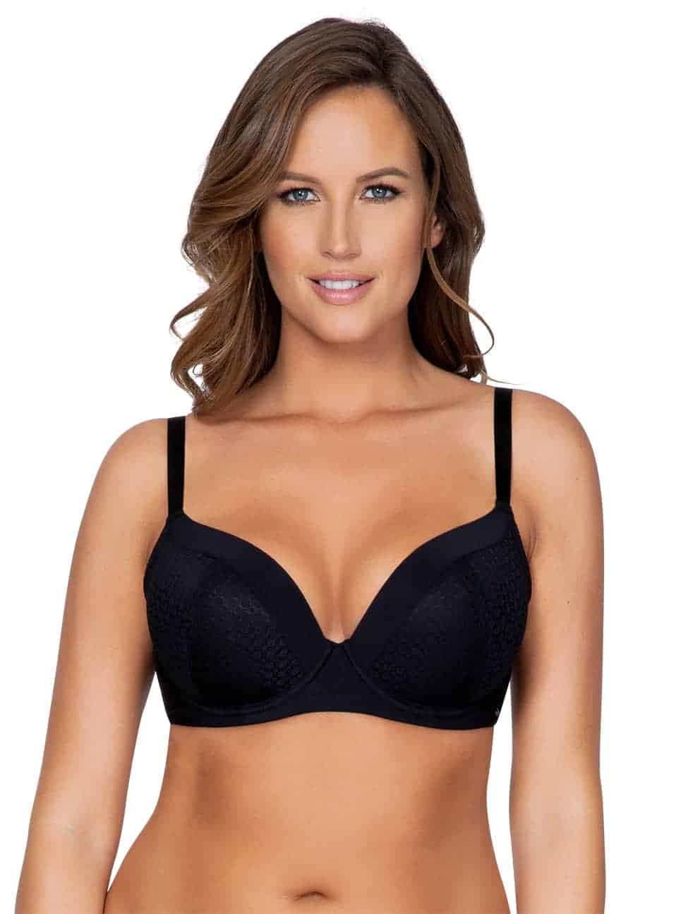 WendyP5411 PlungePadded BlackFront copy 2 - Wendy Plunge Padded Bra - Black – P5411