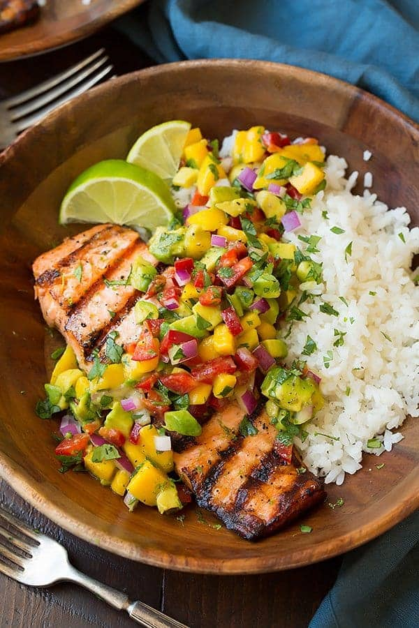 cooking classy grilled lime salmon with avocado mango salsa and coconut rice - 12 Refreshing Dinner Dishes Perfect for Hot Weather