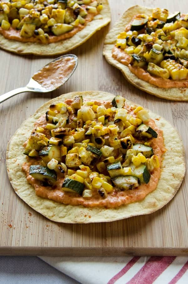 Grilled Zucchini and Corn Tostadas with Spicy Hummus Noming Thru Life - 14 Easy Meals For 2 On A Budget