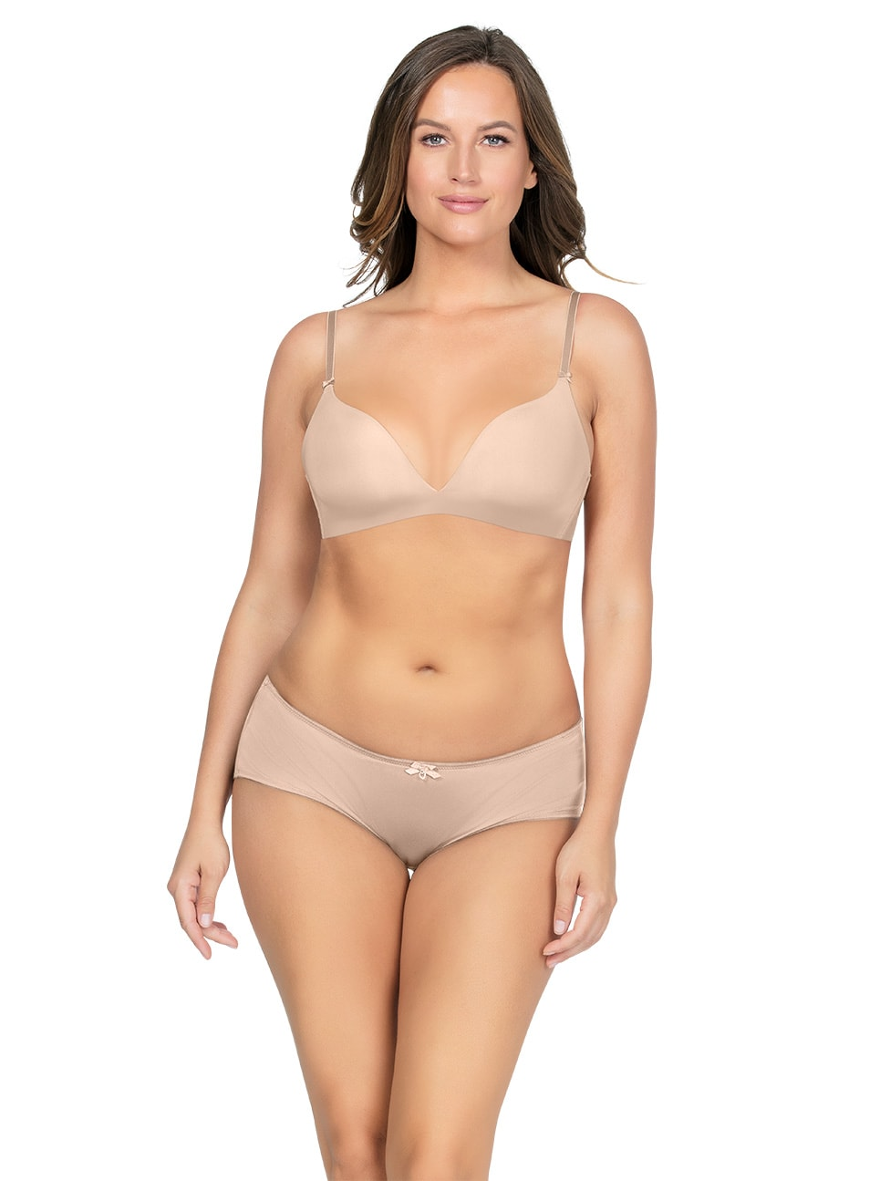 Emma Wire FreeSoftPaddedBraP5491 HipsterP5495 Bare Front copy - Emma Wire-Free Soft Padded Bra - Bare - P5491