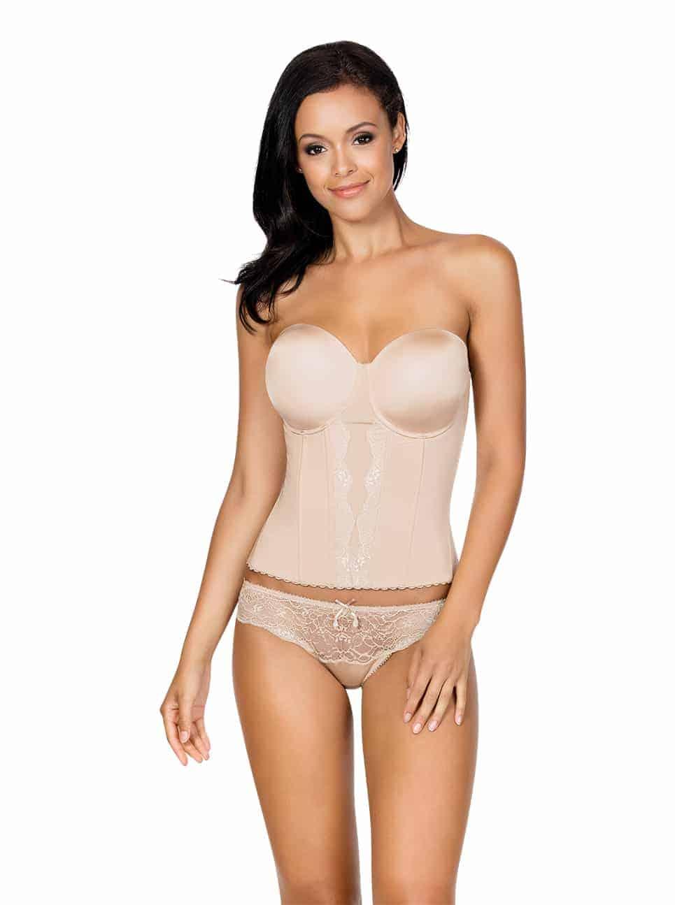 Elissa Low BackBustierP5017 BikiniP5013 EuropeanNude Front - Elissa Low-Back Bustier - Nude - P5017