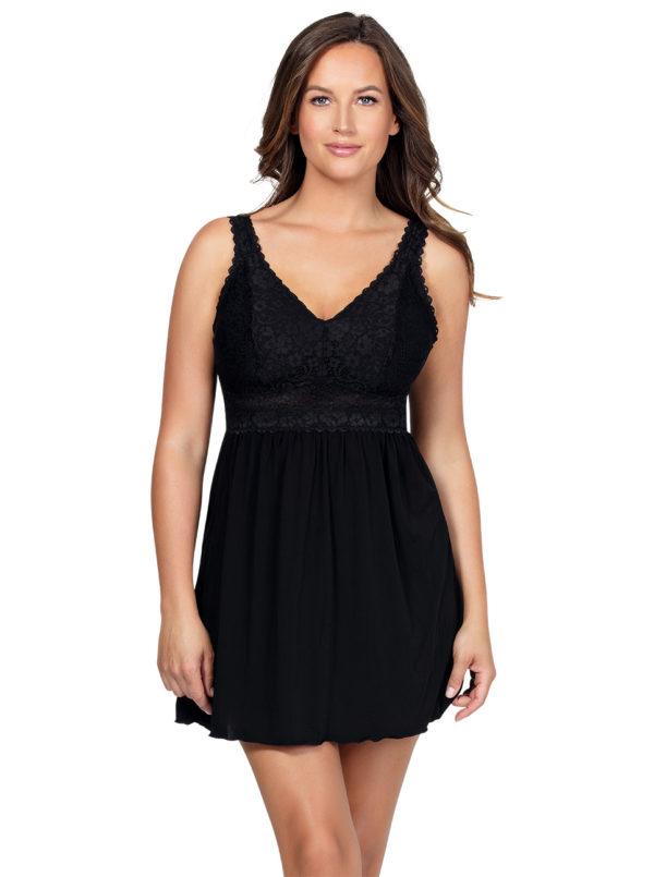 PARFAIT Adriana UnlinedBabydollP5488 BikiniP5483 Black Front 600x805 - Adriana Unlined Babydoll - Black - P5488