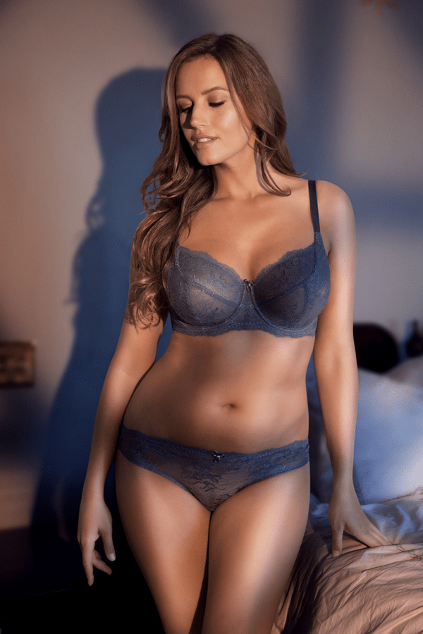 blue lace bra