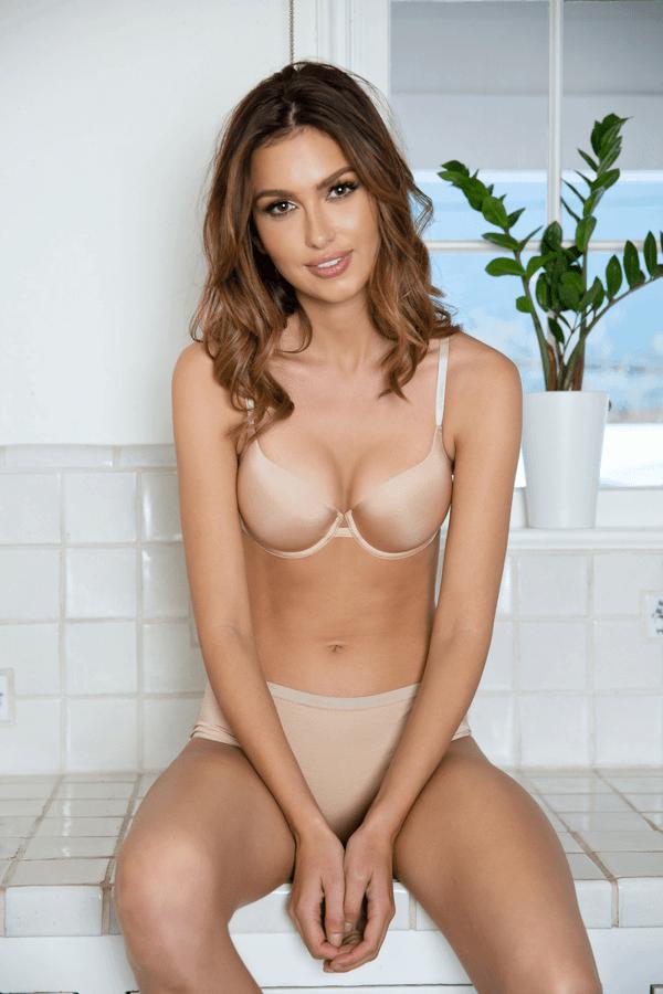 nude plunge push up bra