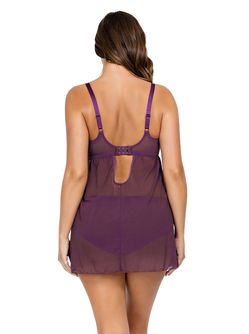 PARFAIT Lulu UnlinedWireBabydollP5618 Grape Back1 - Lulu Unlined Wired Babydoll - Grape - P5618