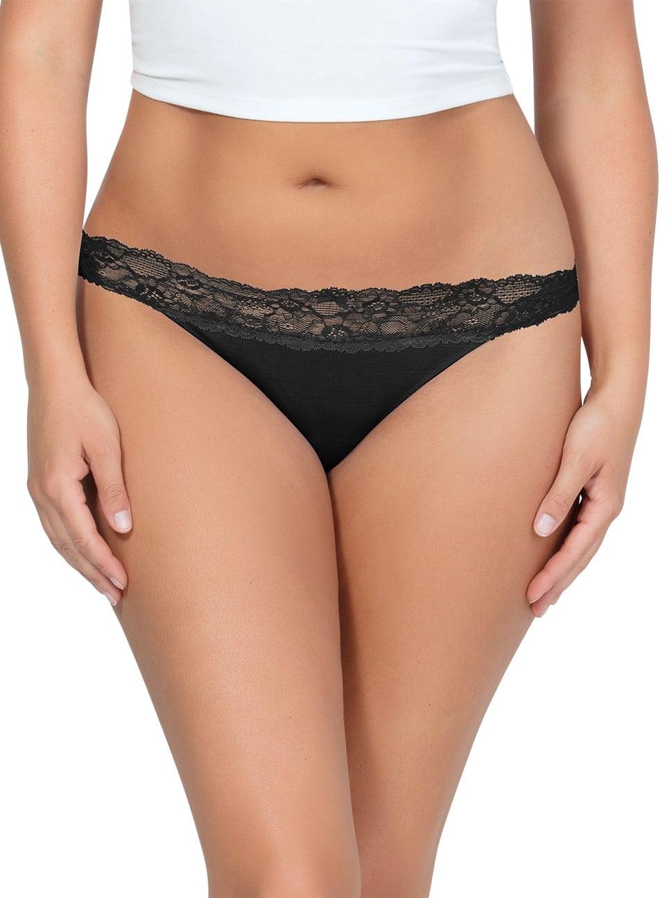 PARFAIT ParfaitPanty SoEssential ThongPP403 Black Front - Panty So Essential Thong - Black - PP403