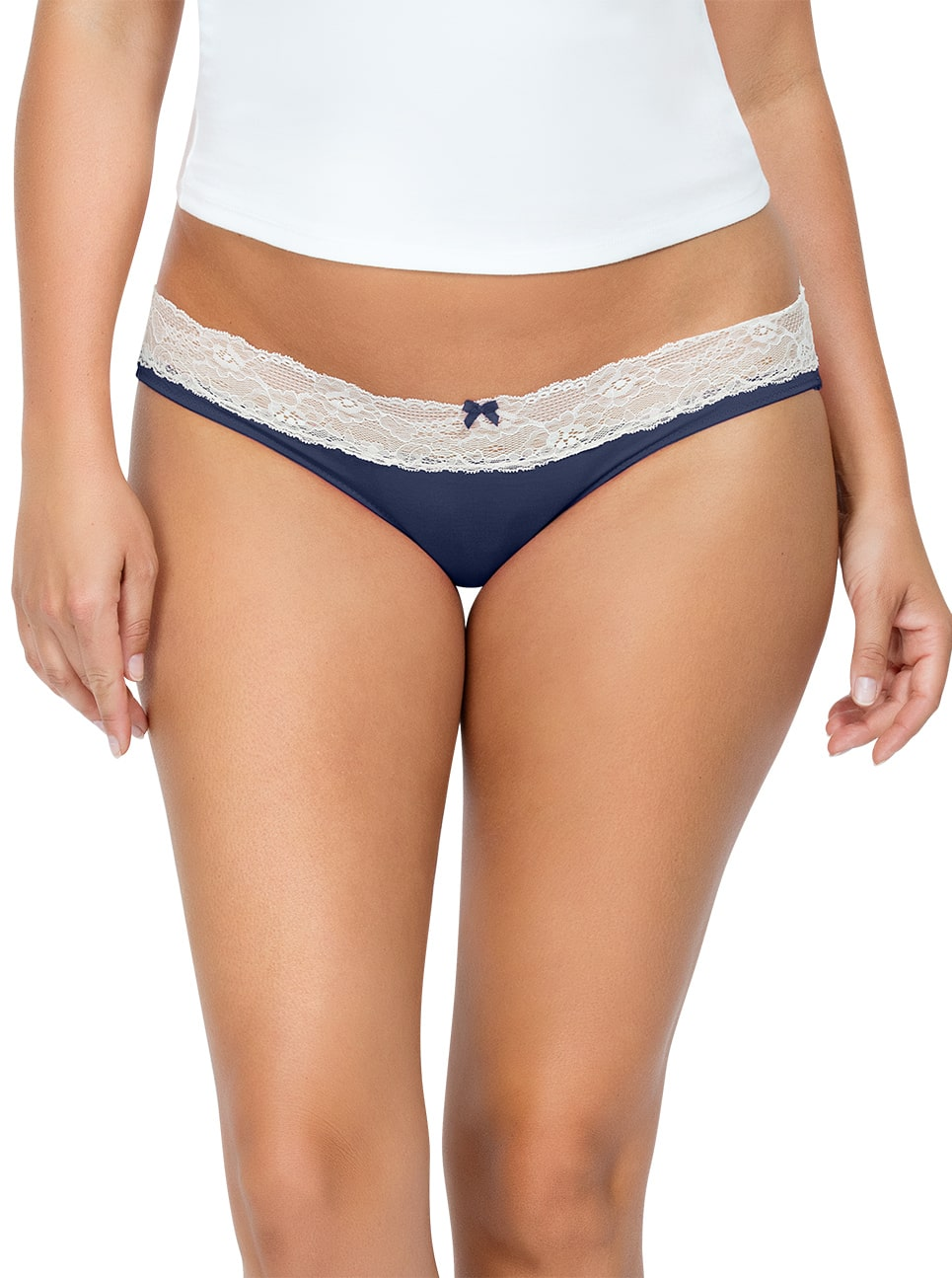 PARFAIT ParfaitPanty SoEssential BikiniPP303 NavyBlue Front close - Panty So Essential Bikini- Navy - PP303
