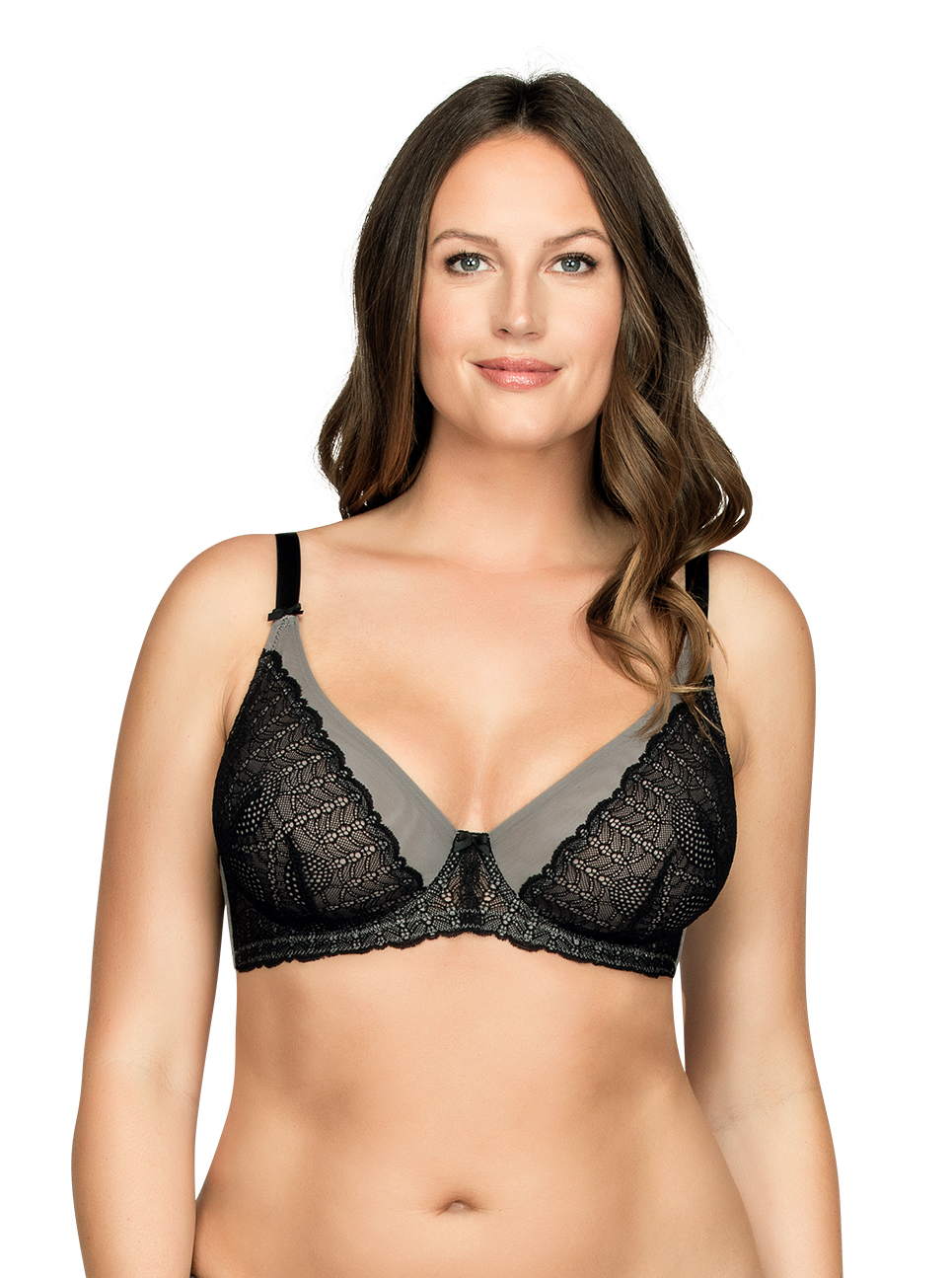 PARFAIT Vanna UnlinedWireBraP5702 BlackGray Front1 - Vanna Unlined Wire Bra Black w Gray P5702
