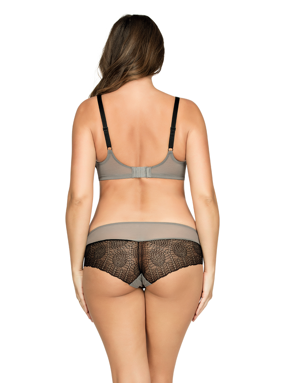 PARFAIT Vanna UnlinedWireBraP5702 HipsterP5705 BlackGray Back - Vanna Unlined Wire Bra Black w Gray P5702