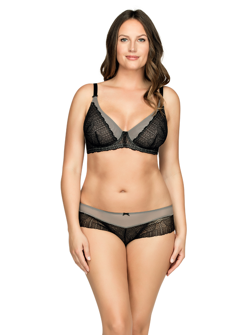 PARFAIT Vanna UnlinedWireBraP5702 HipsterP5705 BlackGray Front1 - Vanna Unlined Wire Bra Black w Gray P5702