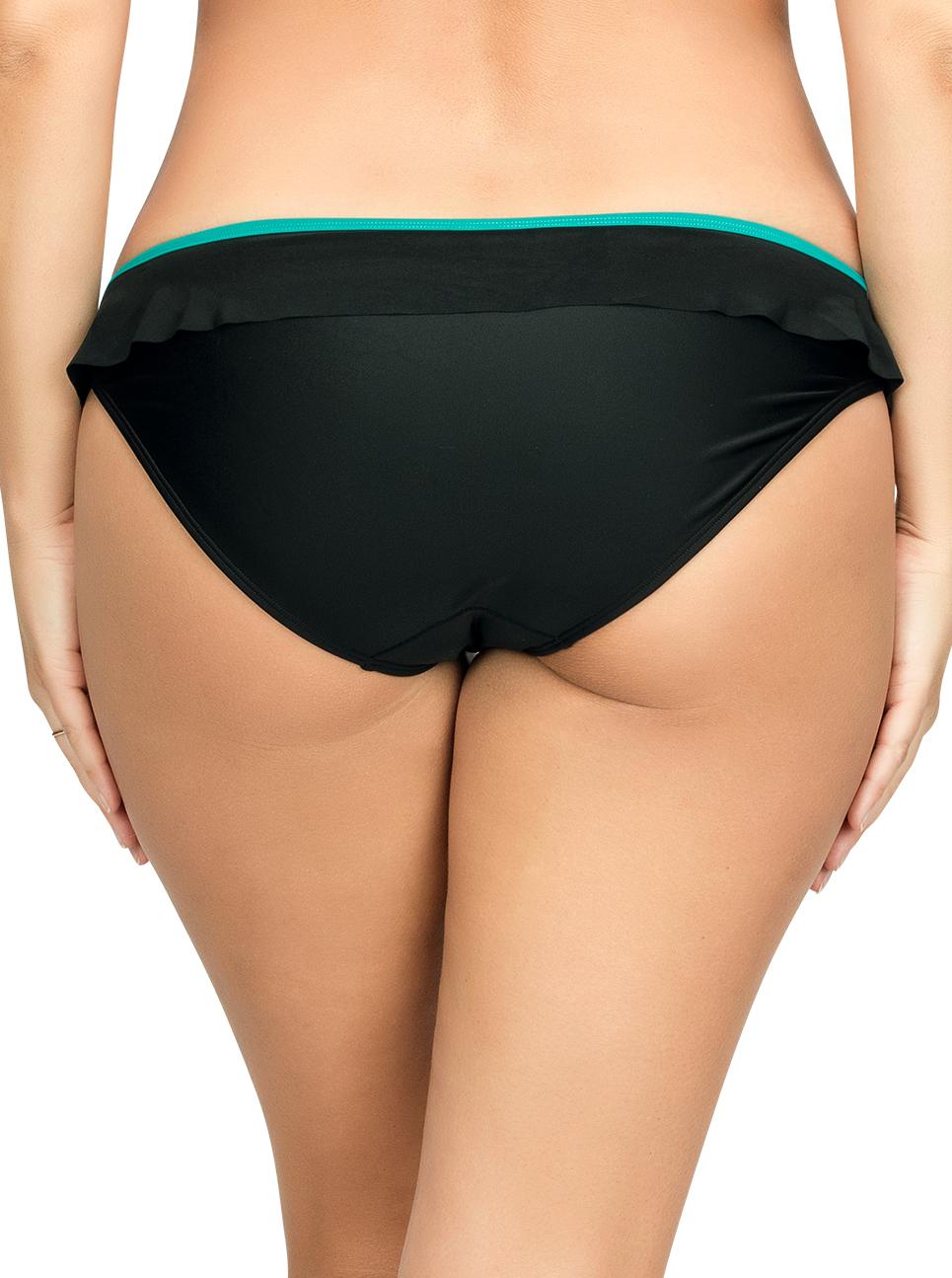 PARFAIT Farah BikiniBottomS8093 BlackEmerald Back - Farah Bikini Bottom Black w Emerald S8093