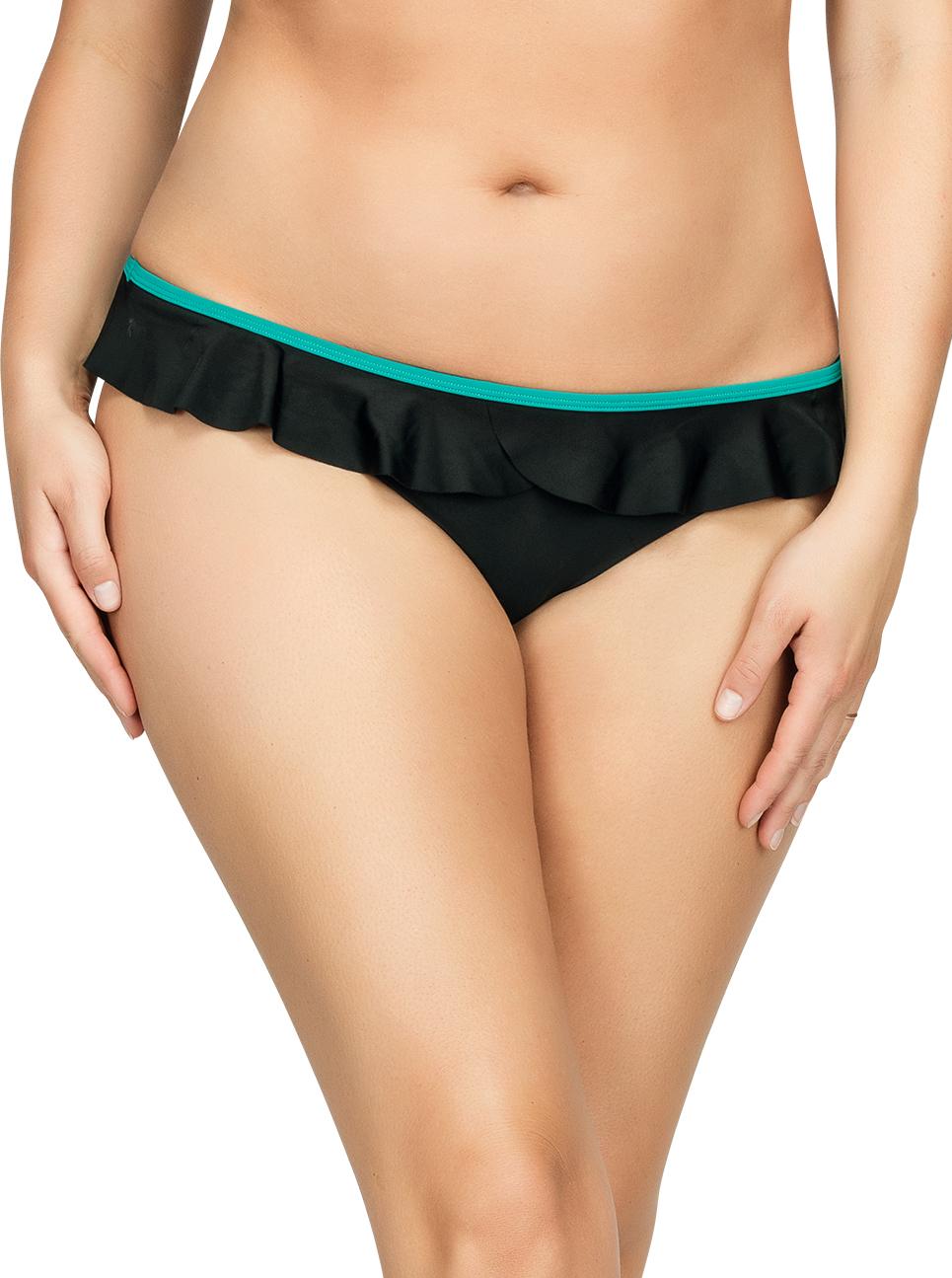 PARFAIT Farah BikiniBottomS8093 BlackEmerald Front1 - Farah Bikini Bottom Black w Emerald S8093
