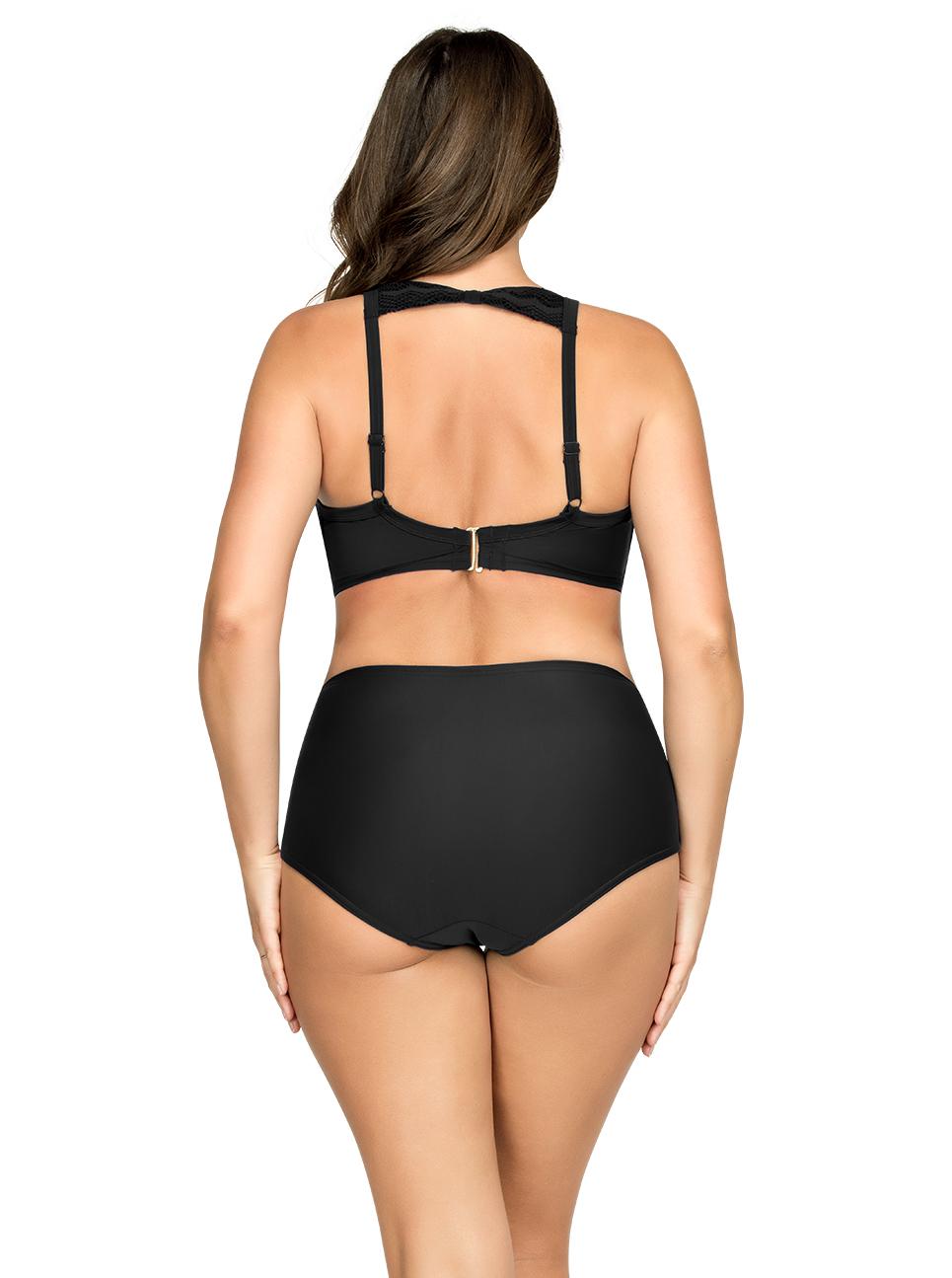 PARFAIT Keira HalterNeckBikiniTopS8071 HighWaistBikiniBottomS8075 Black Back - Keira High-Waist Bikini Bottom Black S8075