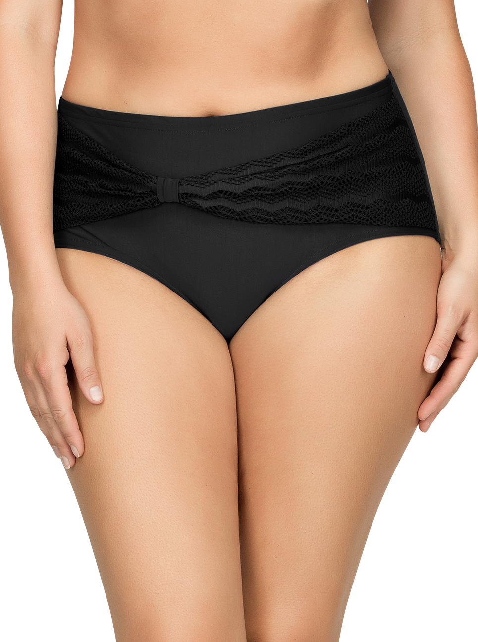 PARFAIT Keira HighWaistBikiniBottomS8075 Black Front1 - Keira High-Waist Bikini Bottom Black S8075