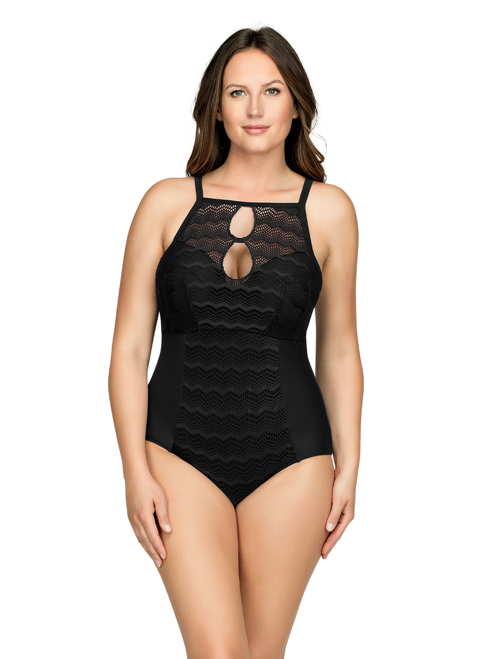 PARFAIT Keira OnePieceSwimsuitS8076 Black Front1 - Keira One-Piece Swimsuit Black S8076