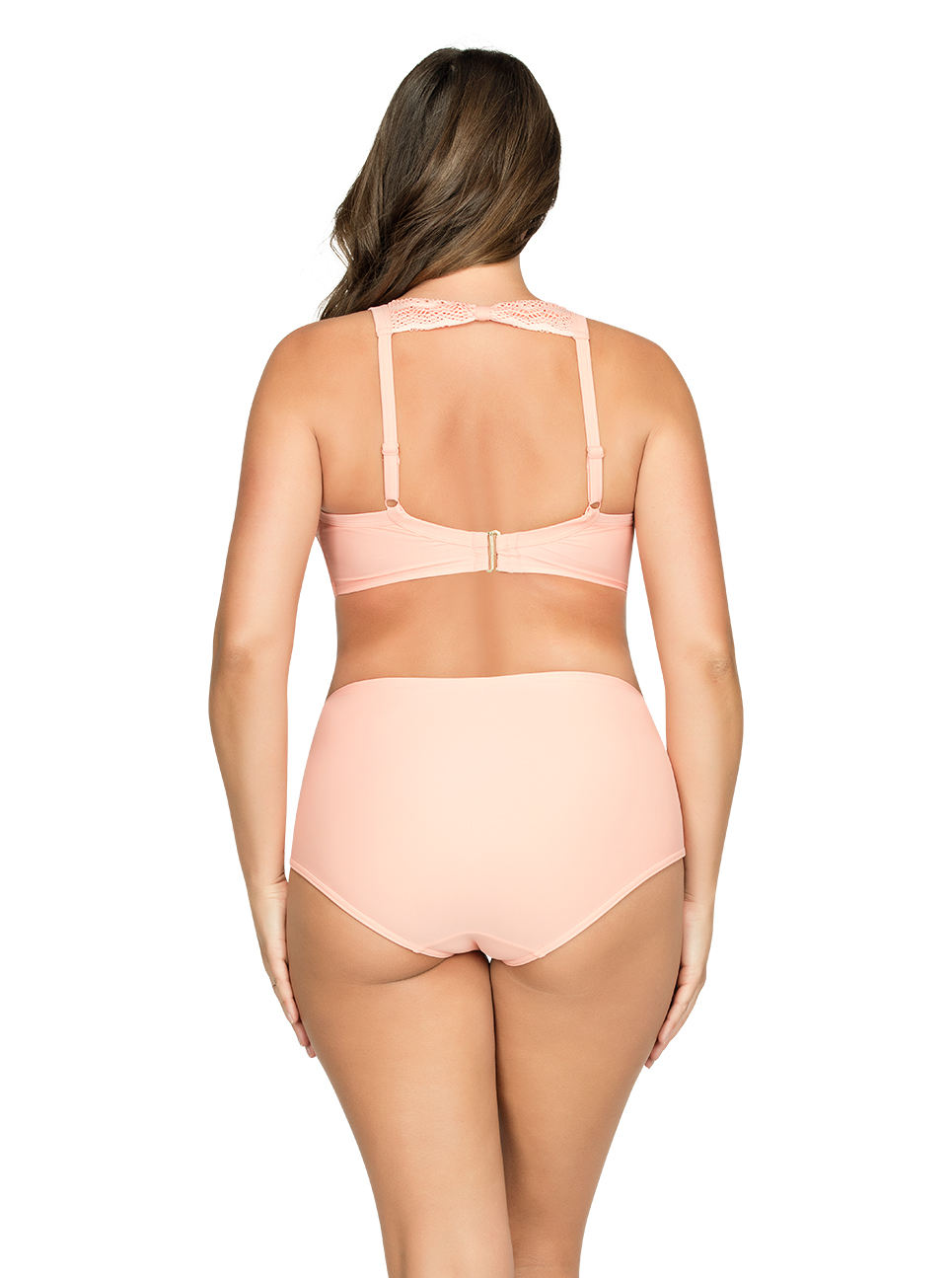 PARFAIT Keira HalterNeckBikiniTopS8071 HighWaistBikiniBottomS8075 Peach Back - Keira Halter-Neck Bikini Top Peach S8071