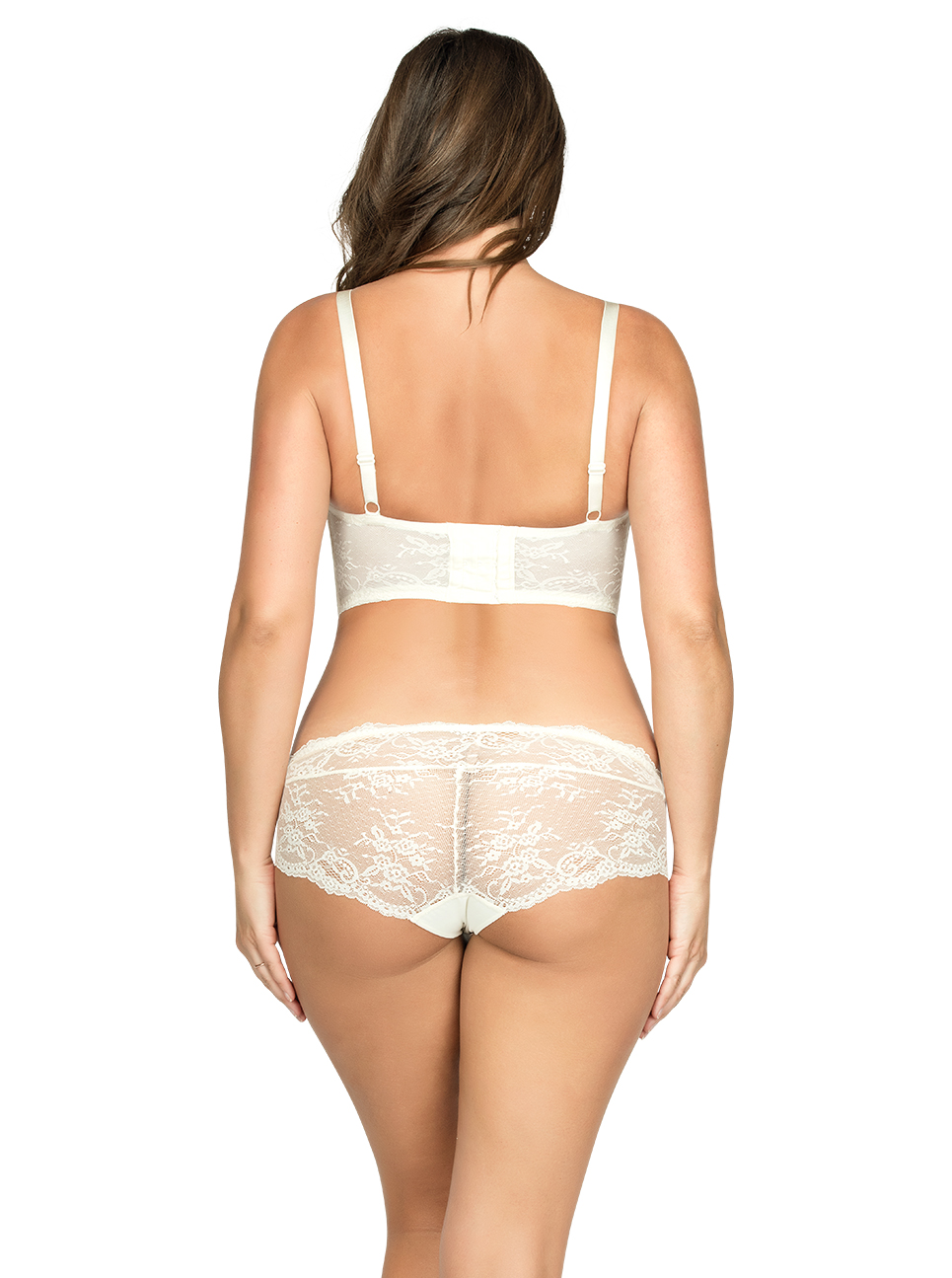 PARFAIT Sandrine PlungeLonglineBraP5351 HipsterP5355 Ivory Back - Sandrine Longline Bra Ivory P5351