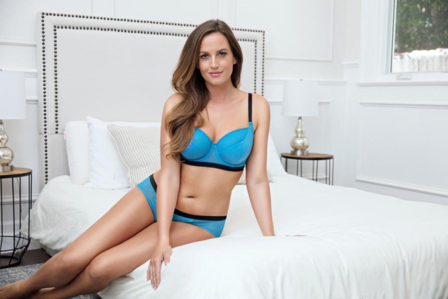 blue and black bra