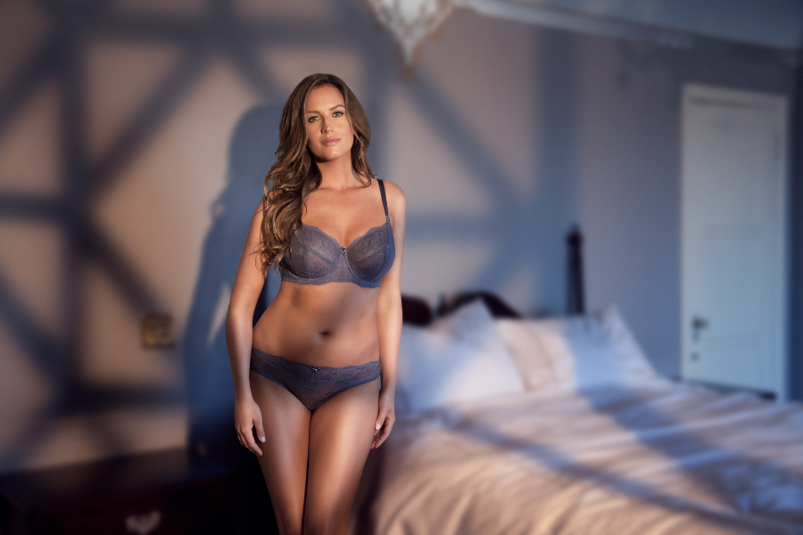 blue lace bra set