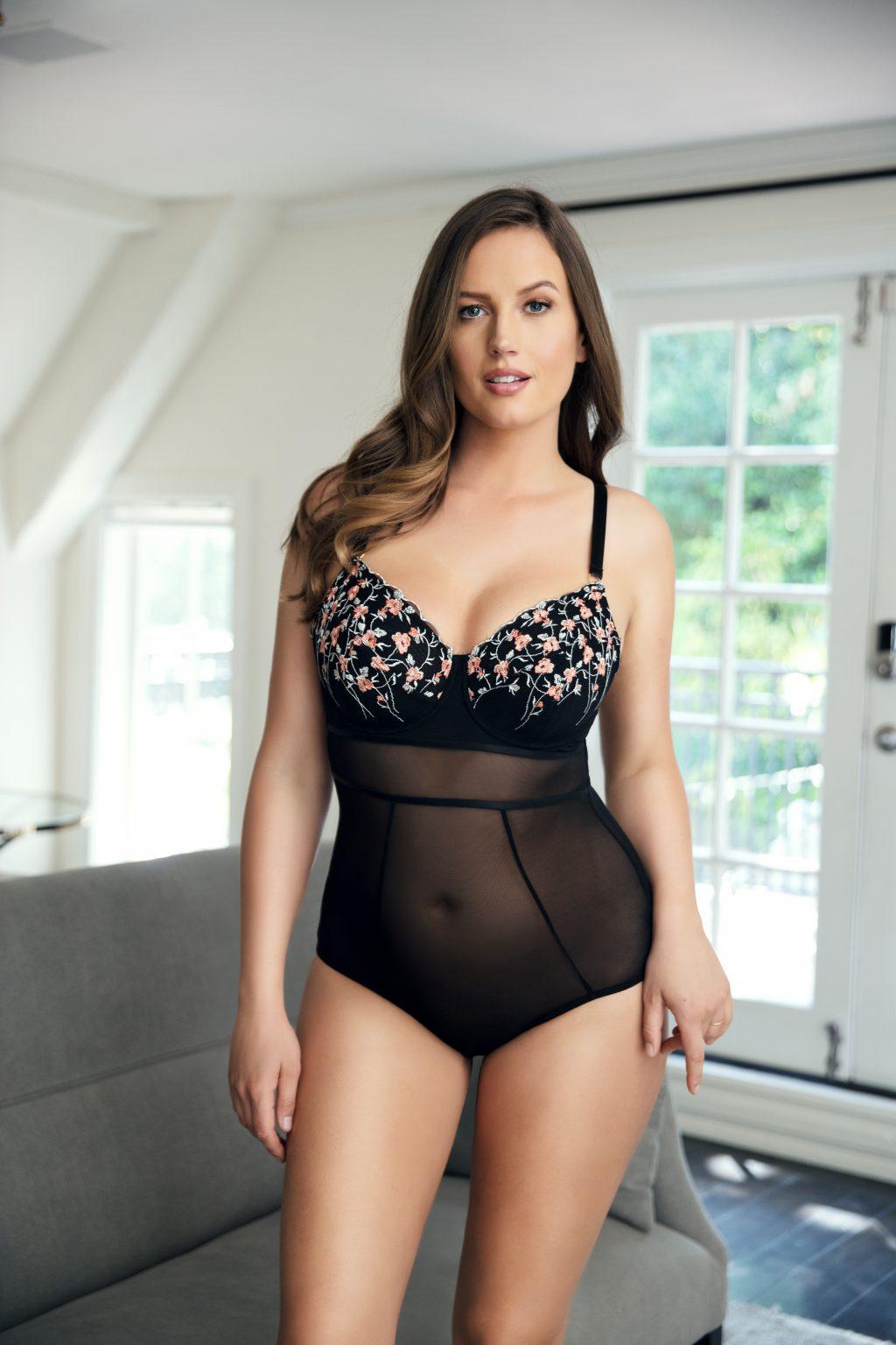 embroidered lingerie bodysuit