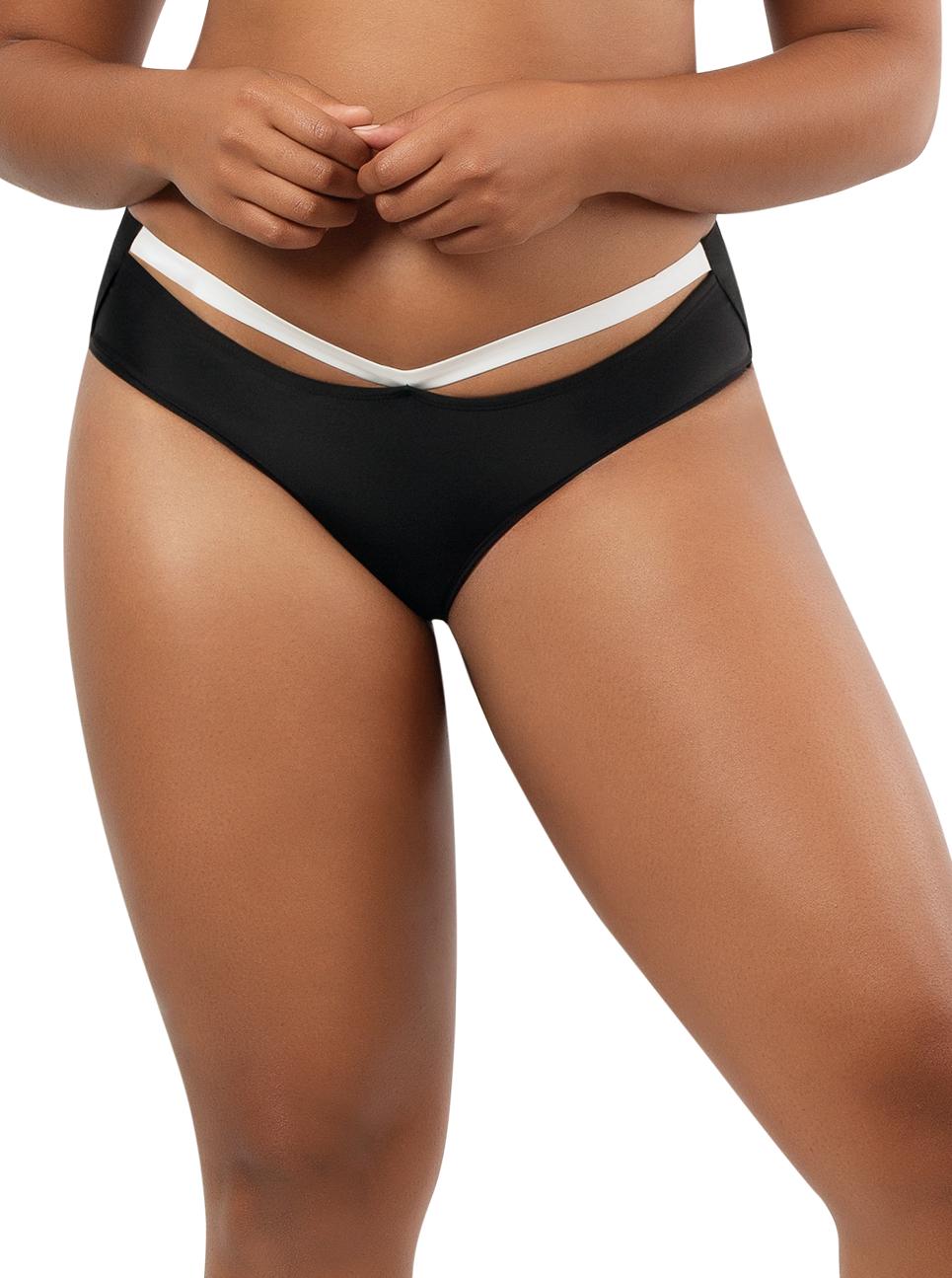 PARFAIT Lauren HighwaistBikiniBottomS8223 BlackWWhite Front - Lauren Highwaisted Bikini Bottom Black w White S8223