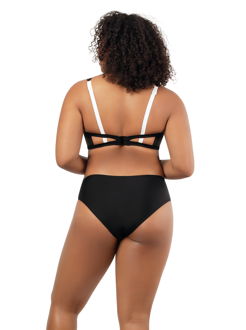 PARFAIT Lauren TriangleSwimTopS8222 HighwaistBikiniBottomS8223 BlackWWhite Back - Lauren Highwaisted Bikini Bottom Black w White S8223