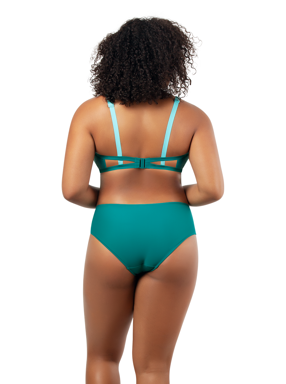 PARFAIT Lauren TriangleSwimTopS8222 HighwaistBikiniBottomS8223 DarkMintWTIbetanStone Black - Lauren Triangle Swim Top Dark Mint w Tibetan Stone S8222