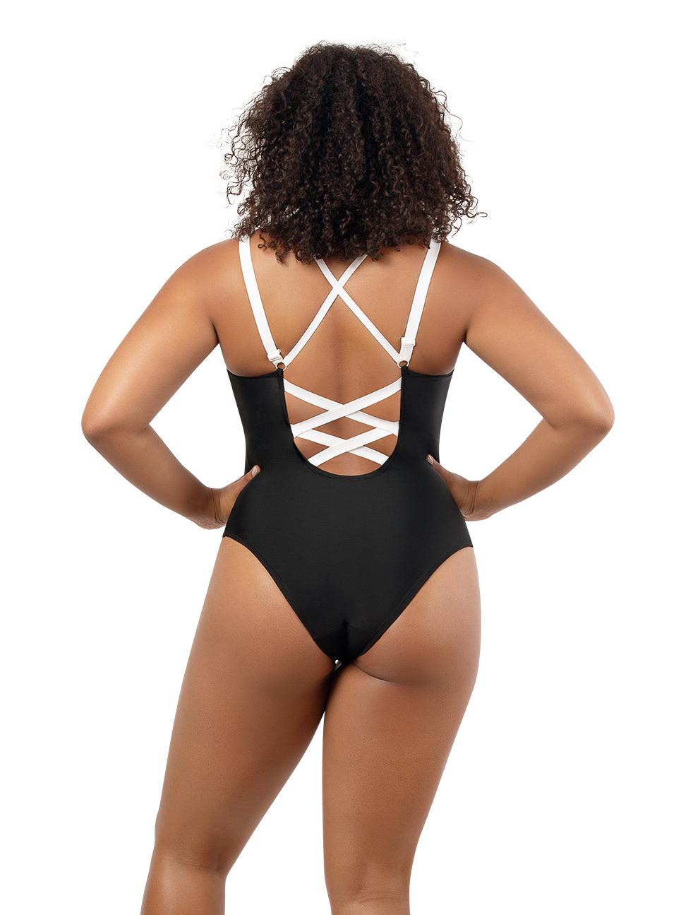 PARFAIT Lauren OnePieceSwimsuitS8226 BlackWWhite Back1 - Lauren One Piece Swimsuit Black w White S8226