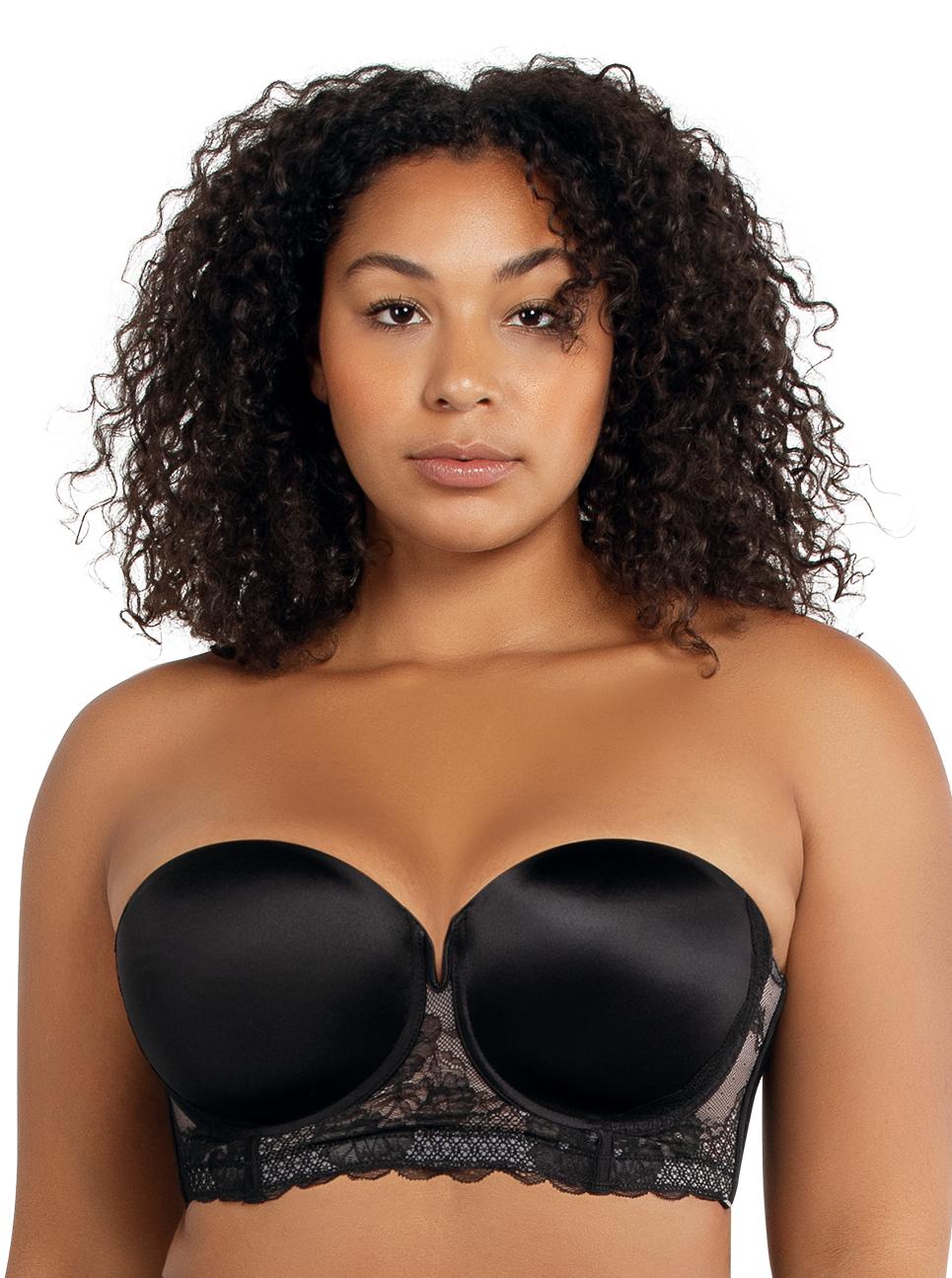PARFAIT Amber StraplessBraA16812 Black Front - Amber Strapless Bra Black A16812