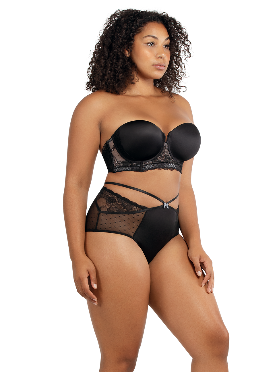 PARFAIT Amber StraplessBraA16812 HighwaistedBriefA1685 Black Side - Amber Highwaisted Brief Black A1685