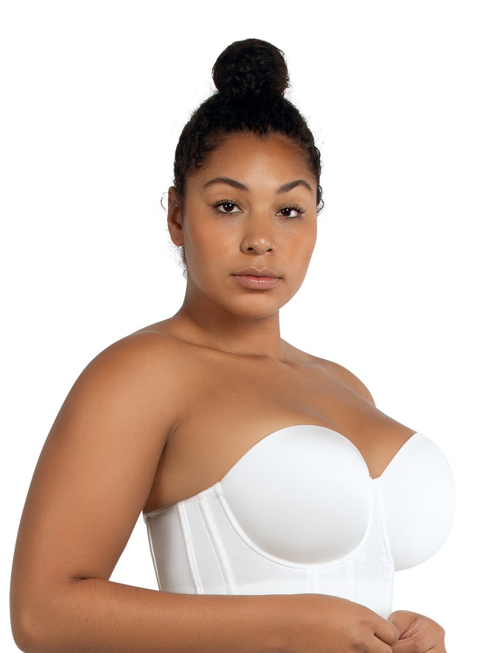 PARFAIT Elissa StraplessContourBustierP50116 PearlWhite Side - Elissa Short Bustier Pearl White P50116