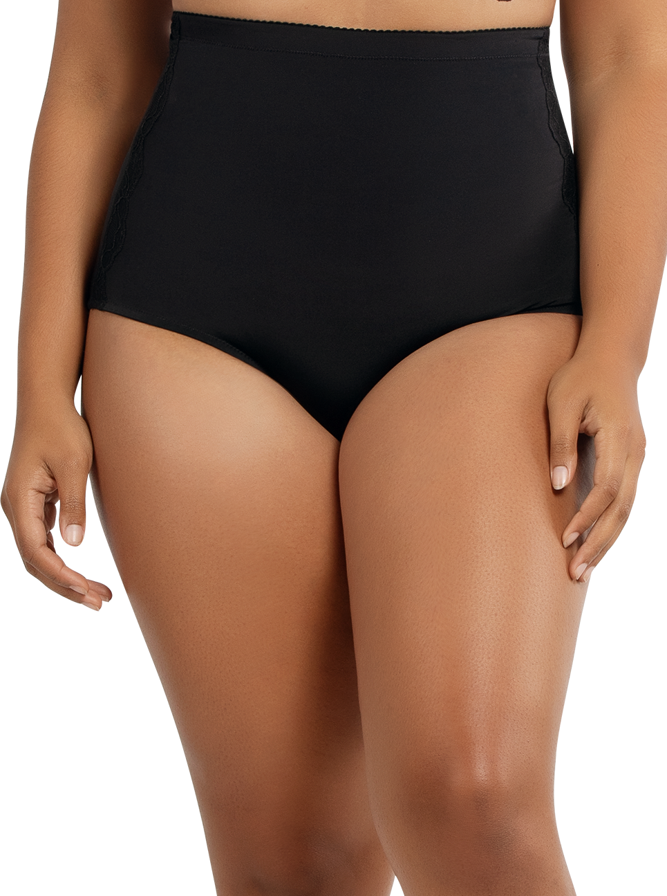 PARFAIT Elissa SuperHighwaistedSmoothControlPantyP50151 Black Front - Elissa Super Highwaisted Smooth Control Panty Black P50151